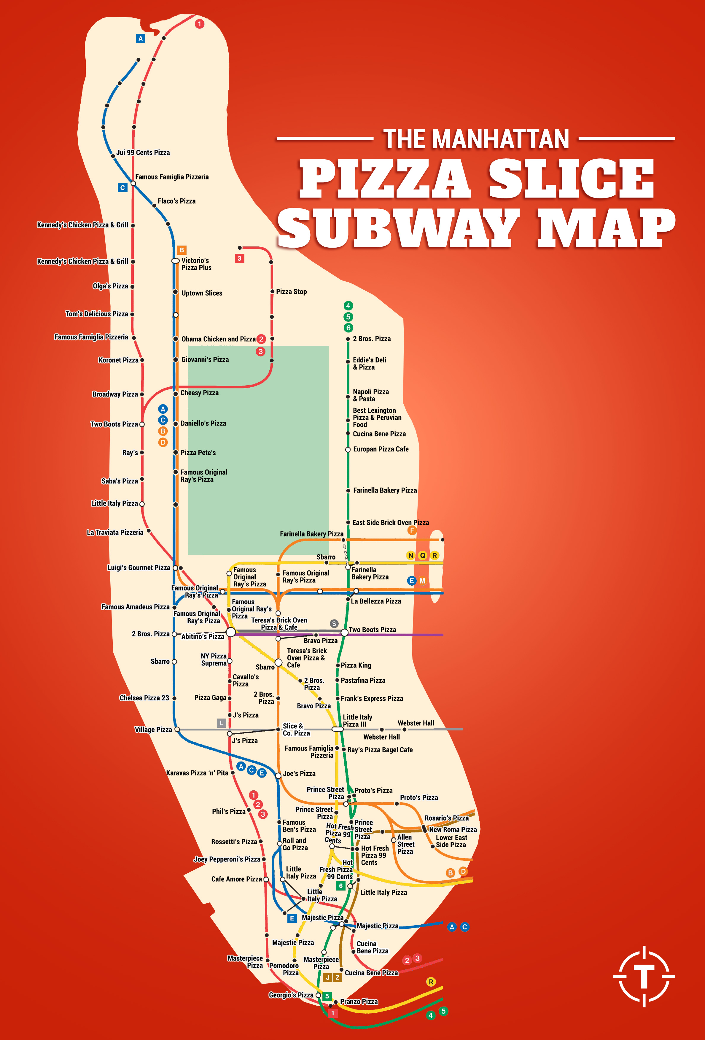 Check Out This Incredible Manhattan Pizza Subway Map