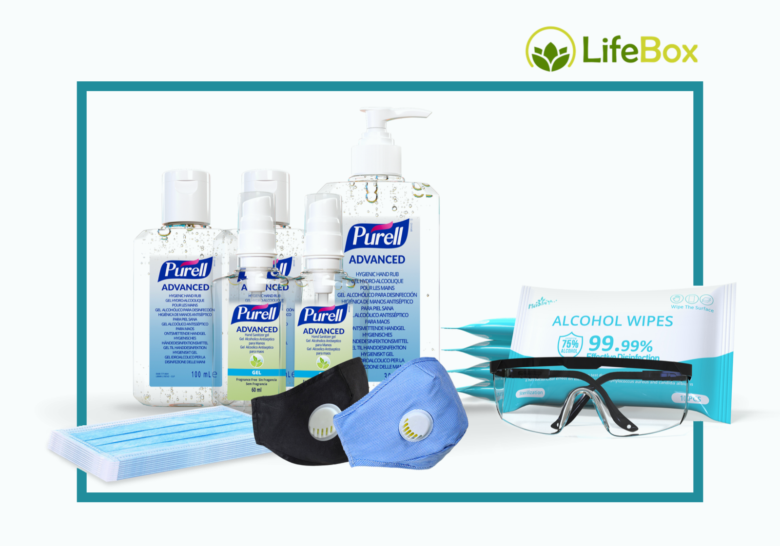 lifebox safety essentials masks sanitizer